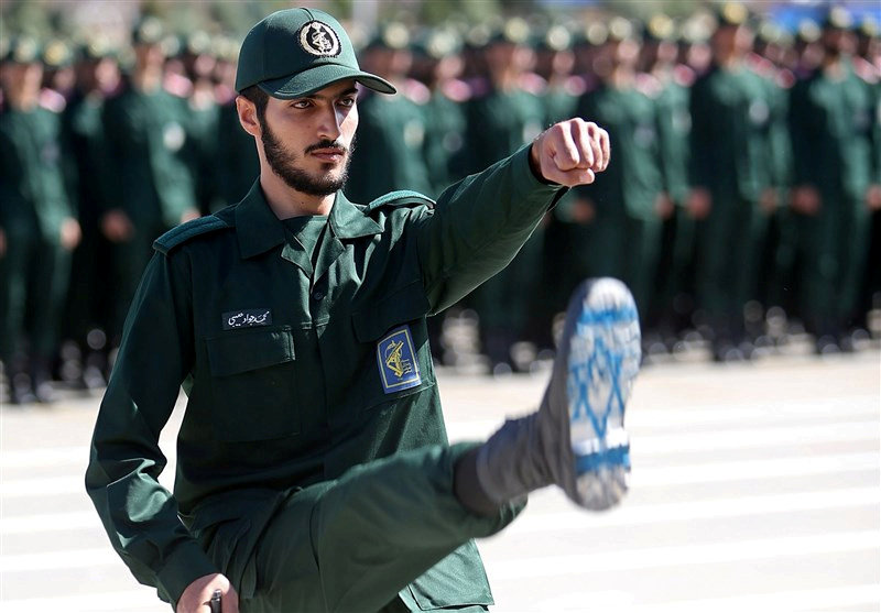 An Iranian Officer of Revolutionary Guards, with Israel flag drawn on his boots, is seen during graduation ceremony, held for the military cadets in a military academy, in Tehran, Iran, June 30, 2018.