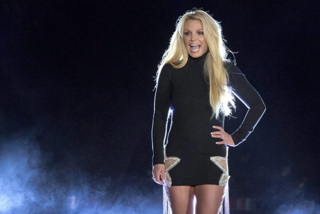 In this Oct. 18, 2018 file photo singer Britney Spears makes an appearance in front of the Park MGM hotel-casino in Las Vegas.
