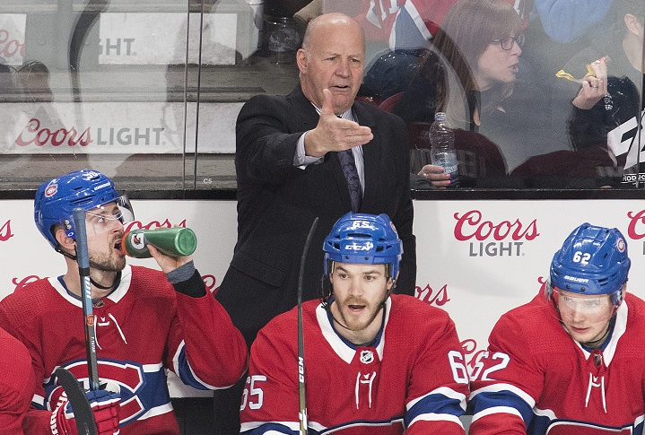 Montreal Canadiens head coach Claude Julien reacts during a NHl hockey game against the Buffalo Sabres in Montreal, Saturday, March 23, 2019.