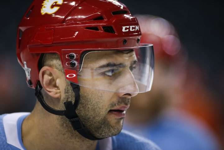 Calgary Flames' Mark Giordano looks on during practice in Calgary, Tuesday, April 9, 2019.
