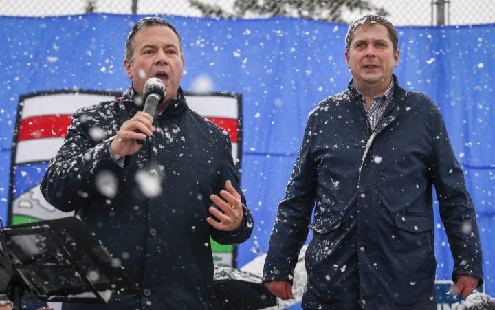 United Conservative Party leader Jason Kenney, left, and federal Conservative Party leader Andrew Scheer attend a campaign rally in Calgary, Alta., Thursday, April 11, 2019.