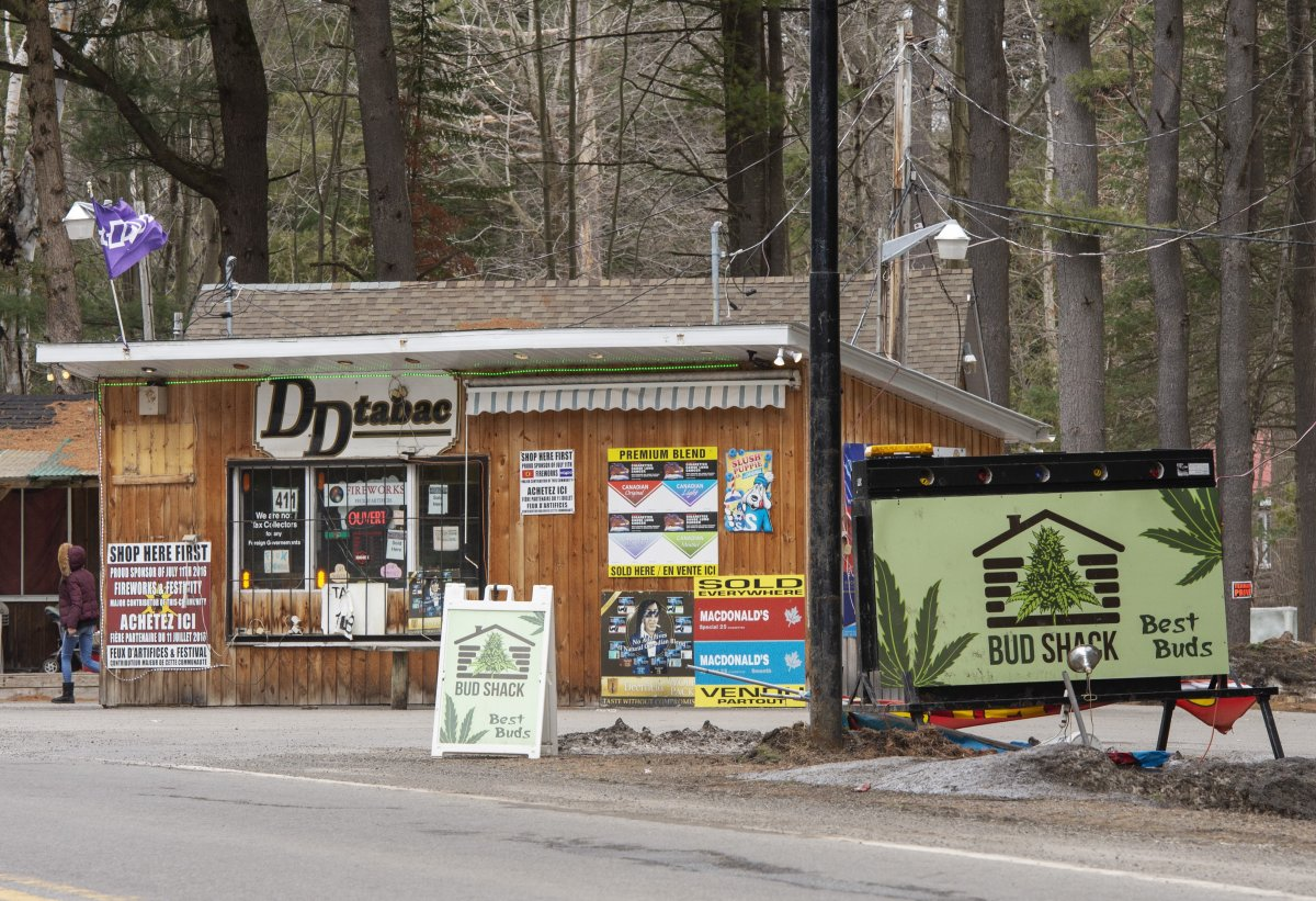 A cannabis store and a tobbaco shop are seen Friday, April 12, 2019 in the Mohawk territory of Kanesatake, Que north of Montreal.