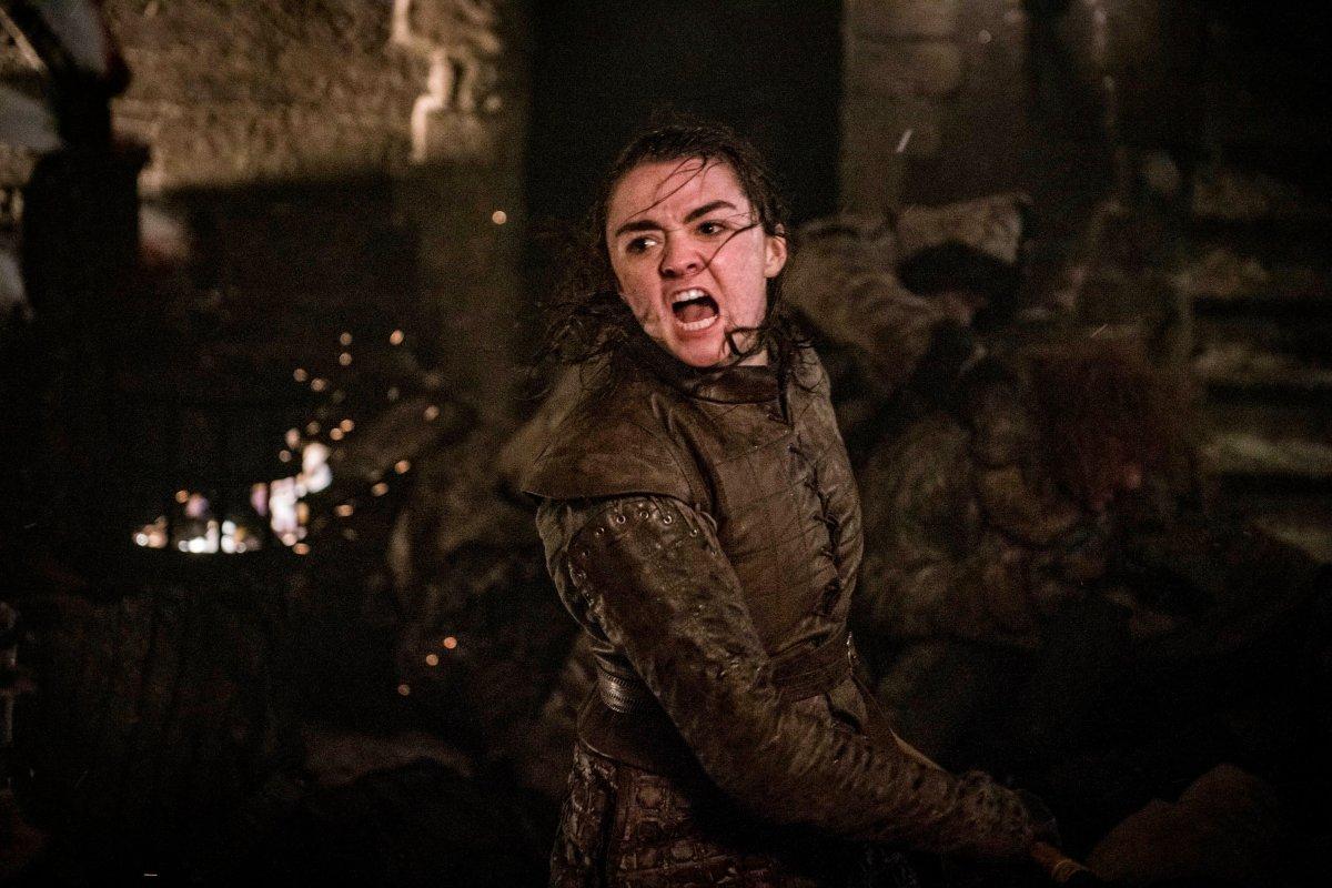 Arya Stark fights in the Battle of Winterfell.