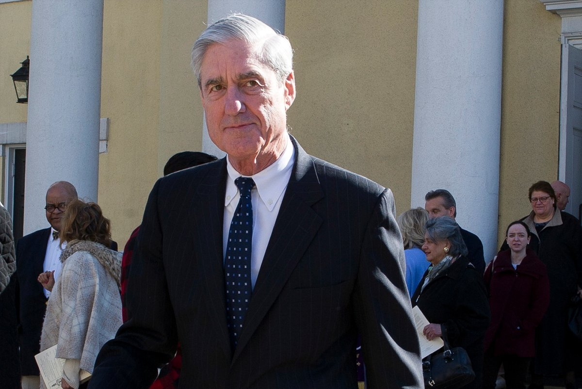 In this March 24, 2019, file photo, special counsel Robert Mueller departs St. John's Episcopal Church, across from the White House in Washington.