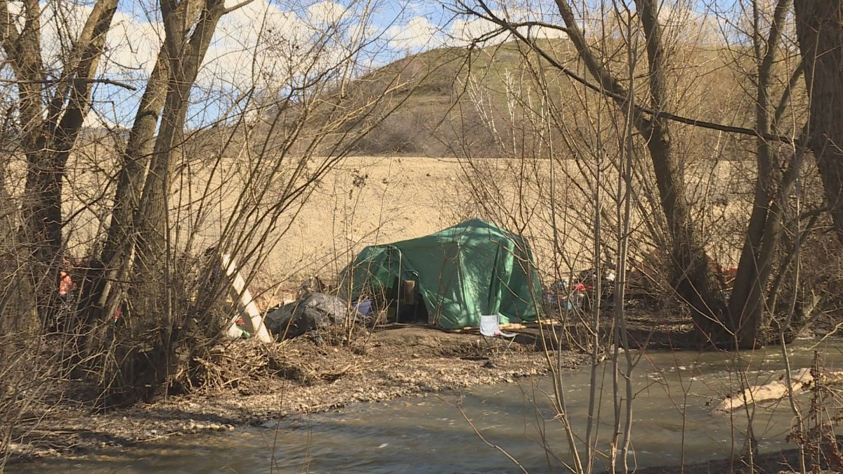 The province said it is not currently concerned about the safety of a homeless camp near the site of a provincial road project. However, campers will be asked to move when construction resumes.