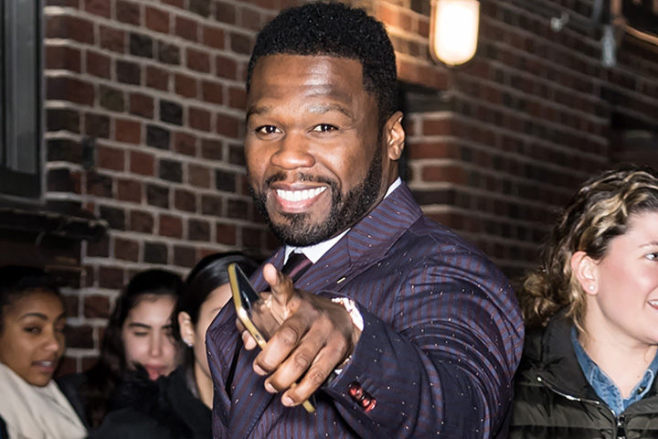 50 Cent is seen arriving at 'The Late Show With Stephen Colbert' at the Ed Sullivan Theater on Jan. 9, 2019, in New York City.