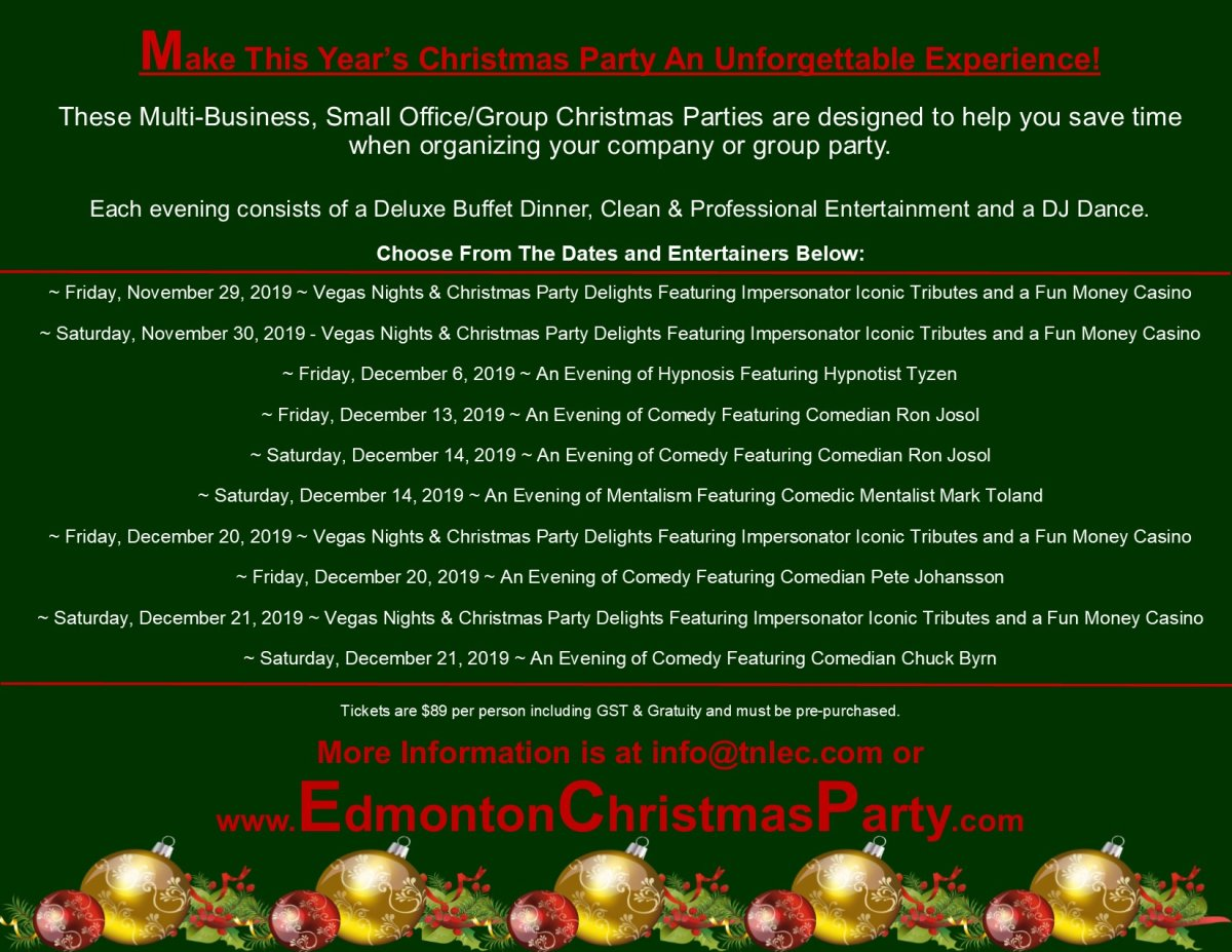 Make This Year S Christmas Party An Unforgettable Experience Edmonton Globalnews Ca