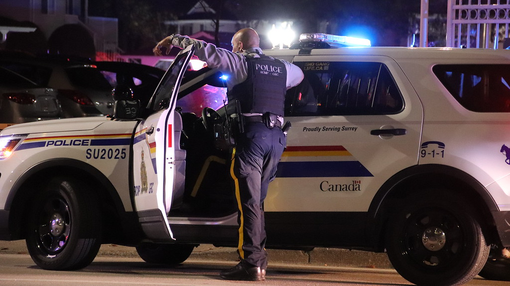 Surrey RCMP on the scene of a fatal shooting on April 10, 2019.