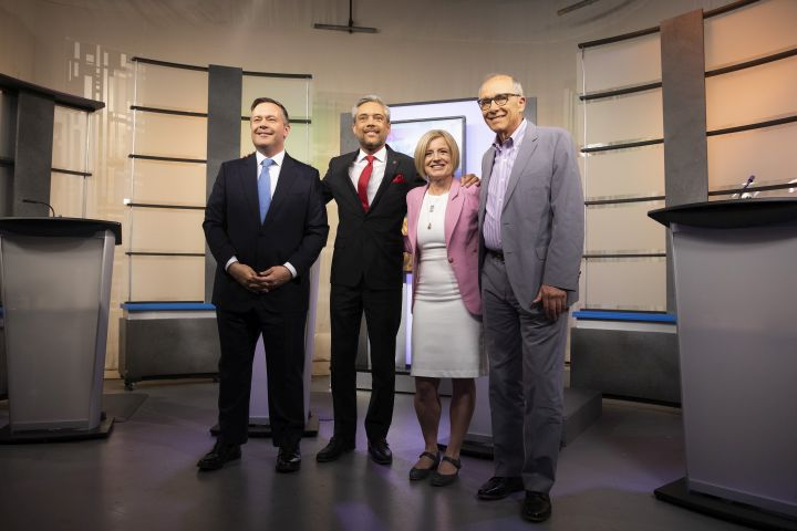 United Conservative Party leader Jason Kenney, left to right, Alberta Liberal Party leader David Khan, Alberta New Democrat Party leader and incumbent premier Rachel Notley and Alberta Party leader Stephen Mandel pose before the start of the 2019 Alberta Leaders Debate in Edmonton, Alta., on Thursday, April 4, 2019.