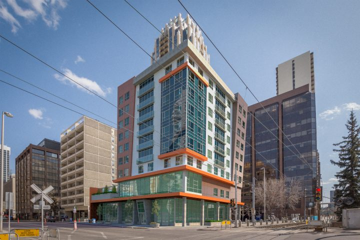 Artist rendering of Calgary's 5 Avenue S.W. affordable housing building. Funding for it was announced on April 23, 2019.
