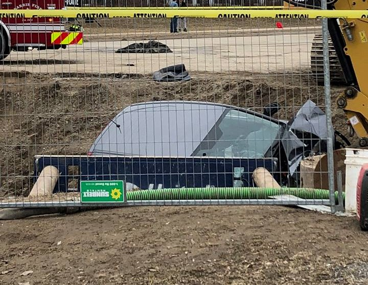 Barrie Police are investigating a single-vehicle collision at the site of a major watermain break.