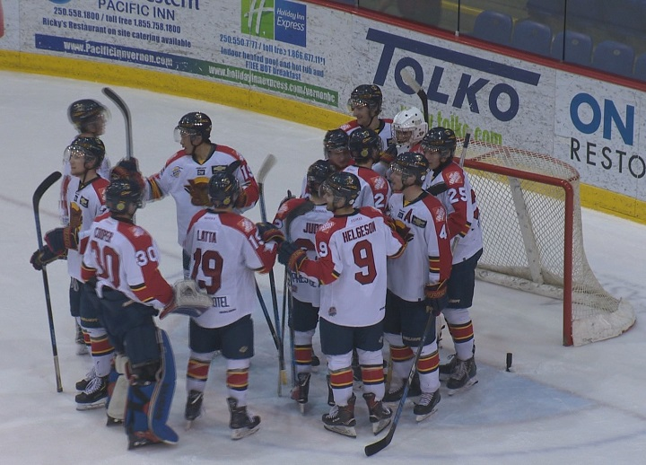 The Vernon Vipers celebrate after defeating the Wenatchee Wild in Game 4 of the Interior Conference final on Wednesday night.