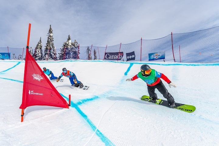 Big White Resort will host a World Cup snowboardcross event next January. Above is action from a Para World snowboard World Cup event held at Big White this year.