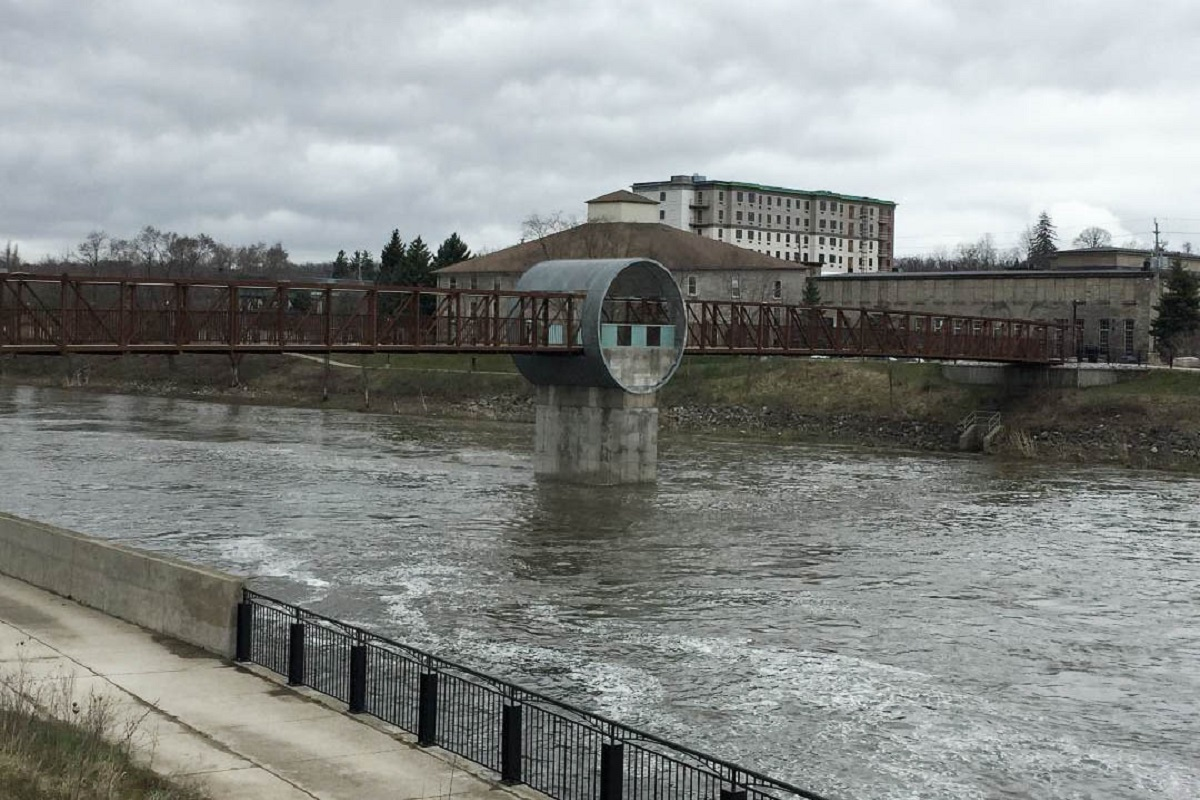 Grand River Pedestrian Bridge in downtown Galt in Cambridge, Ont.