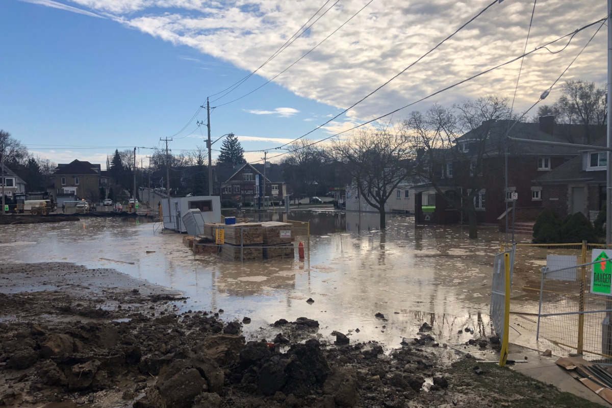 Cameron Street was flooded on Thursday morning.