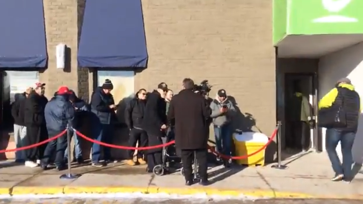 Dozens lined up for the grand opening of Central Cannabis on April 1, 2019.