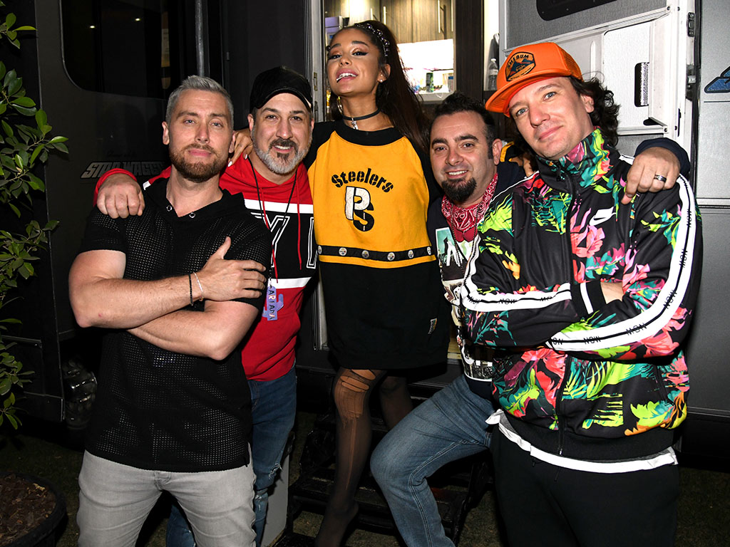 Ariana Grande (C) with members of NSYNC Lance Bass, Joey Fatone, Chris Kirkpatrick and JC Chasez attend 2019 Coachella Valley Music And Arts Festival on April 14, 2019 in Indio, California.