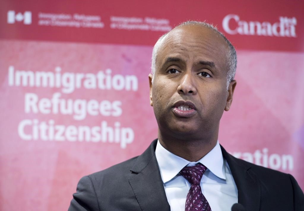 Minister of Immigration Ahmed Hussen makes an announcement of support for pre-arrival services at the YMCA in Toronto on Monday, January 14, 2019.