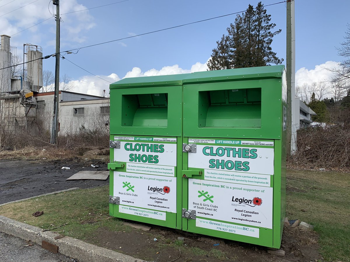 """""""Green Inspiration"""" clothing donation bin found on private property in Burnaby, BC."""