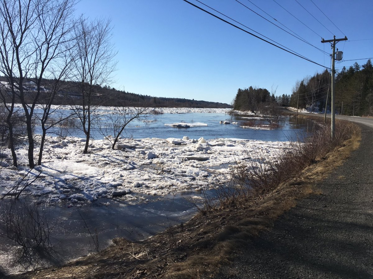 The Nashwaak River in New Brunswick at flood stage on April 2, 2019.