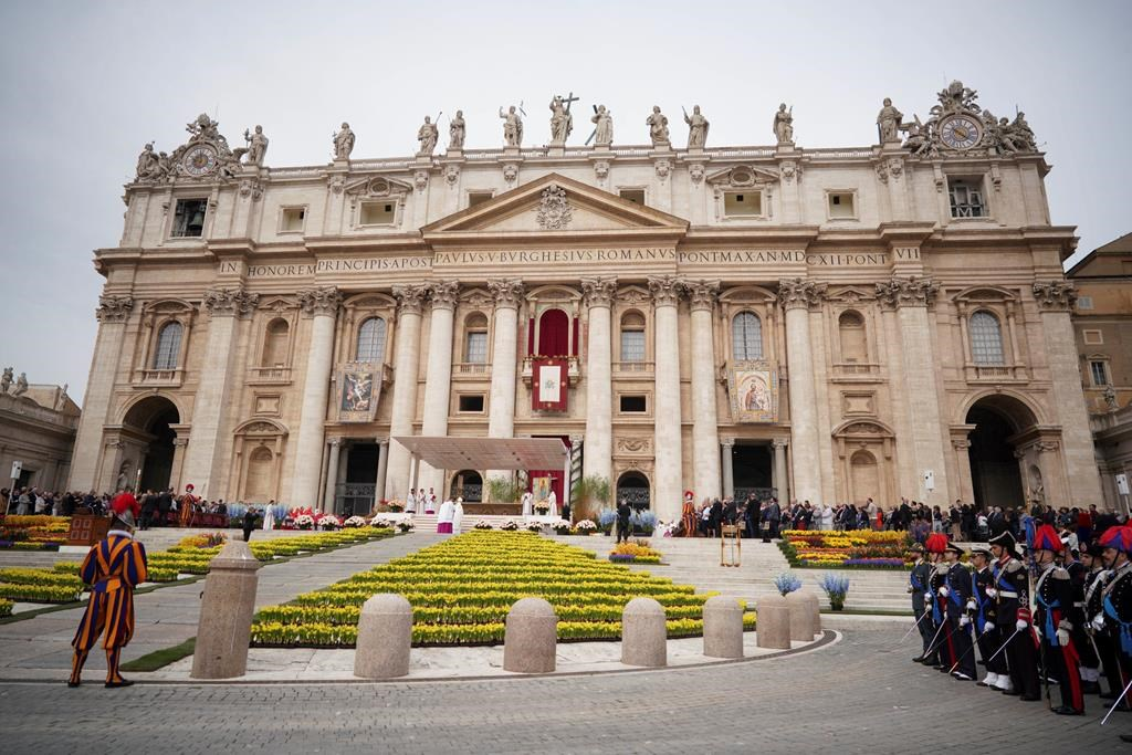 Pope Francis celebrates Easter Mass in St. Peter's Square at the Vatican, Sunday, April 21, 2019.