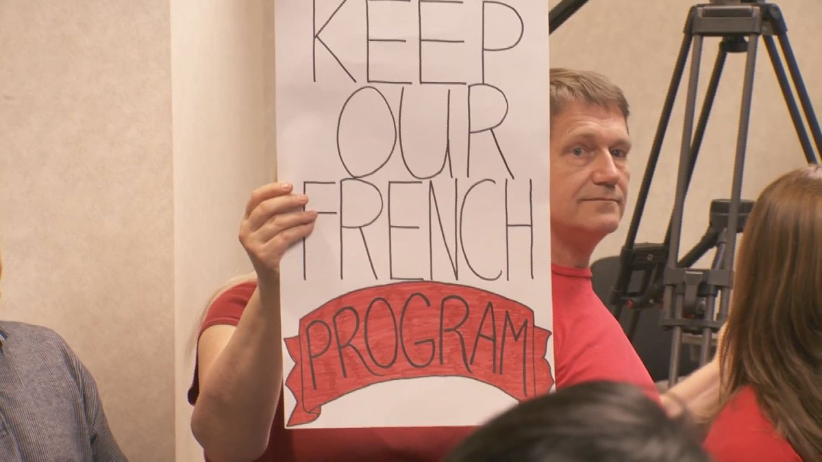 Parents attend a Vancouver School Board meeting in support of the French immersion program at Henry Hudson Elementary.