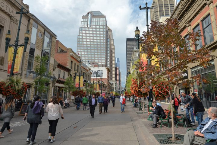 A general view of Stephen Avenue in Calgary downtown.