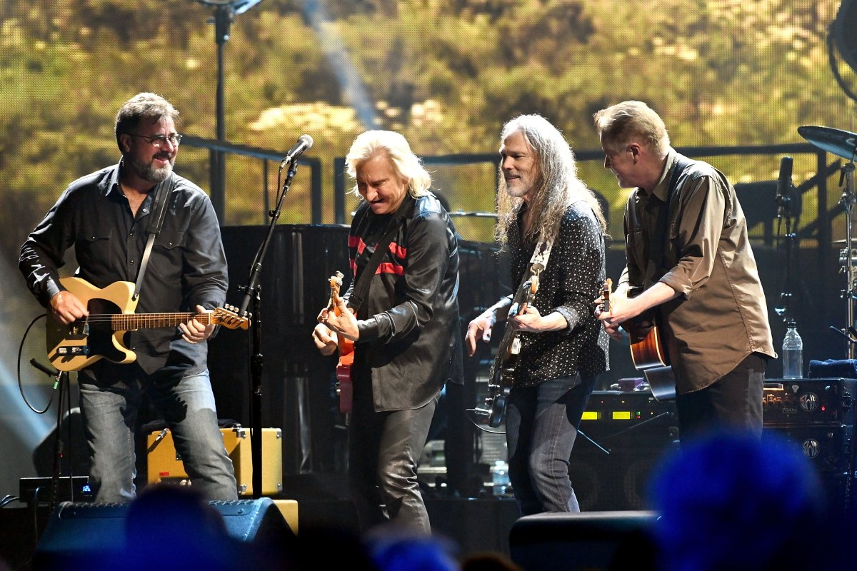 (L-R) Vince Gill, Joe Walsh, Timothy B. Schmit and Don Henley of the Eagles perform onstage during 'An Evening with The Eagles' at The Forum on Sept. 14, 2018 in Inglewood, Calif.