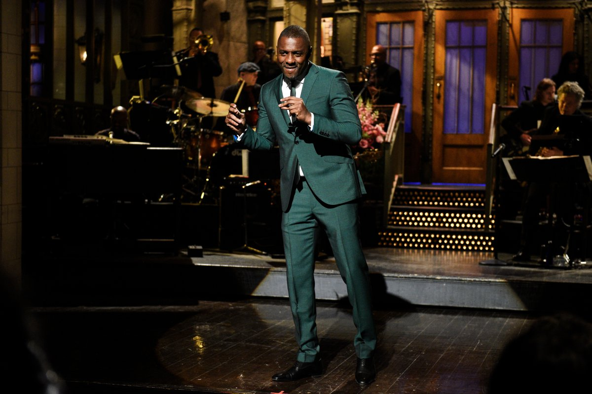 Host Idris Elba during a monologue on 'Saturday Night Live' on March 9, 2019.