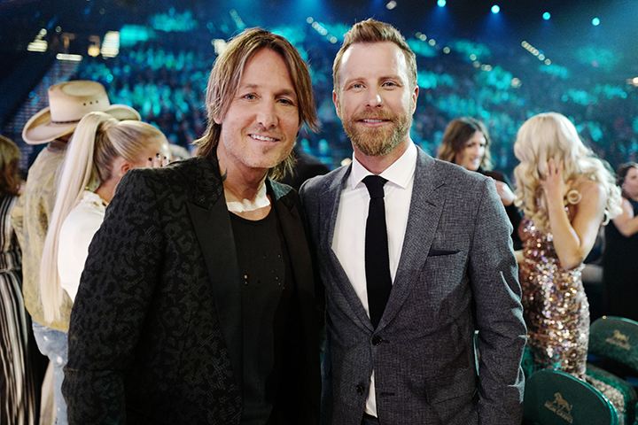 (L-R) Keith Urban and Dierks Bentley attend the 54th Academy of Country Music Awards at MGM Grand Garden Arena on April 7, 2019 in Las Vegas, Nev.
