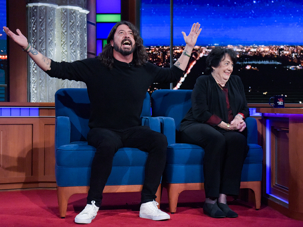 'The Late Show with Stephen Colbert' featuring guests Dave and Virginia Hanlon Grohl during April 26, 2017 show.