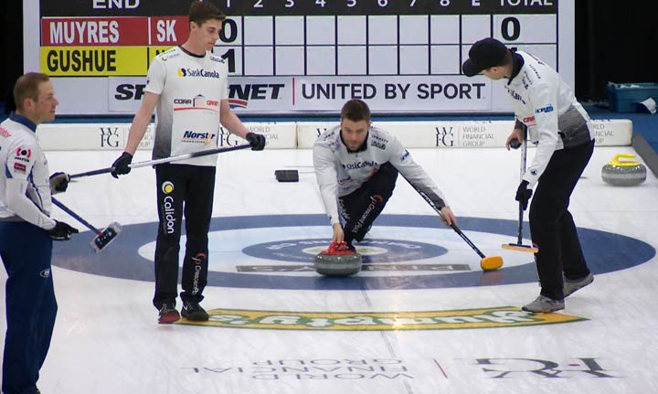 Kirk Muyres delivers a stone during a 2019 Grand Slam of Curling event in Saskatoon.