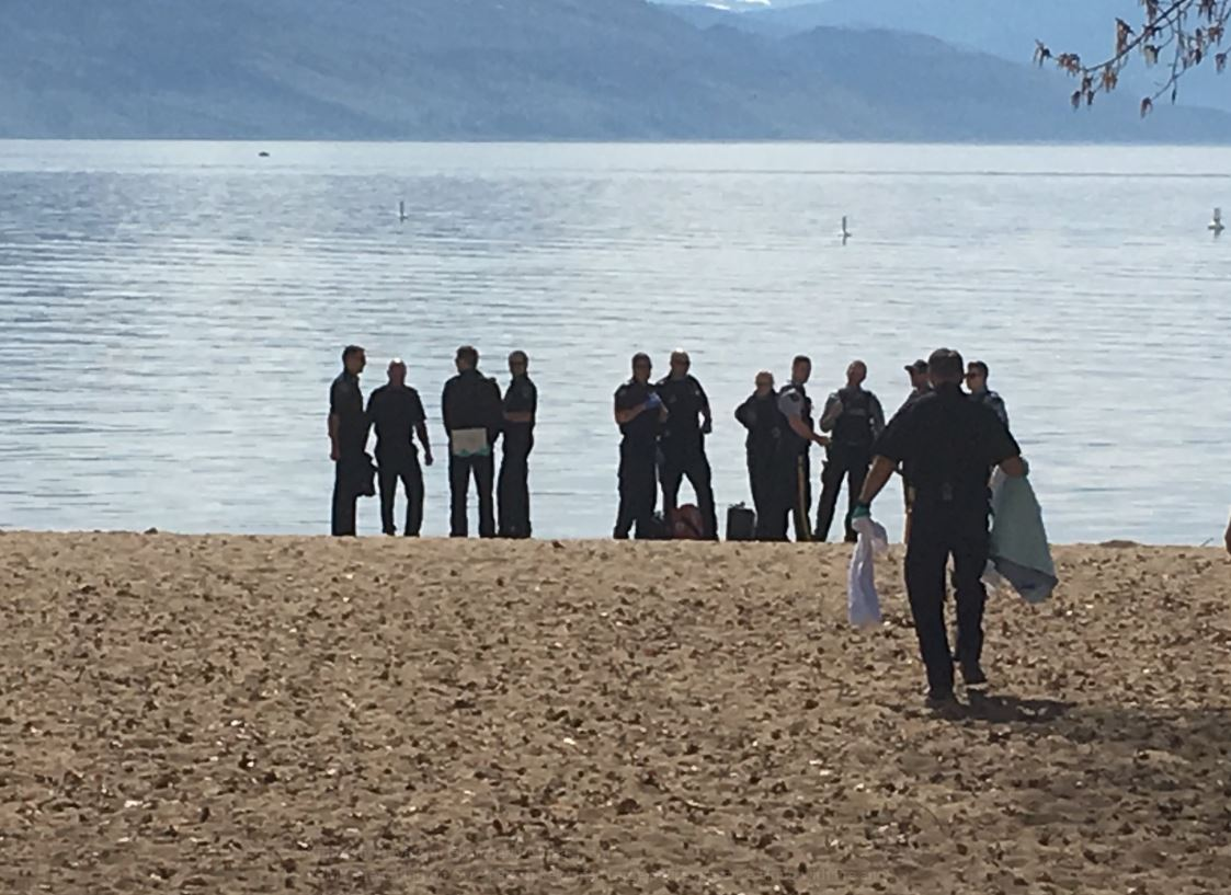 Police taped off an area at Gyro Park in Kelowna, B.C., on Sunday afternoon.