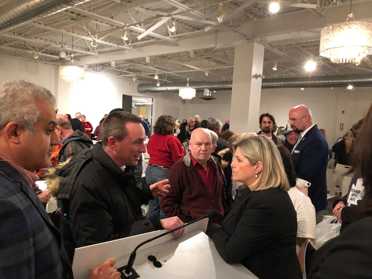 Ontario NDP Leader Andrea Horwath speaks with Londoners following a townhall at the Goodwill Centre on Horton St.