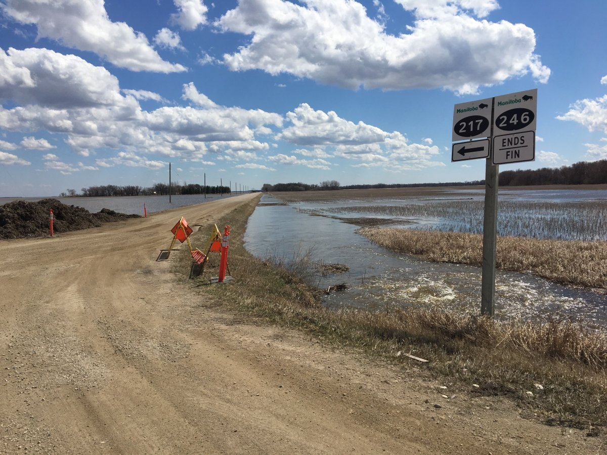 This road was closed due to rising floodwaters covering portions of it in the RM of Montcalm in southern Manitoba on April 22, 2019.