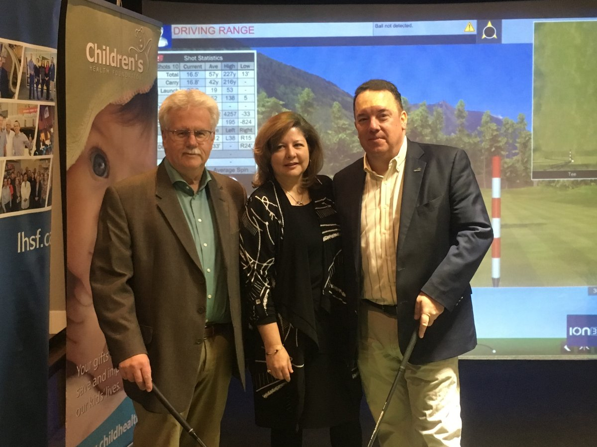 From left to right: Ron Mikula, London Health Science Foundation board chair; Michelle Campbell, St. Joseph's Healthcare Foundation president and CEO; Scott Fortnum, president of Children's Health Care Foundation.