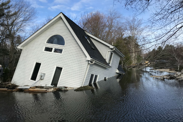 A residence on Beaumont Farm Road as historical flooding affects Bracebridge, Ont.