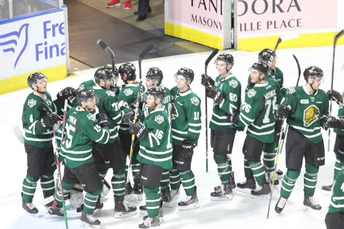 London, Ont. - The London Knights celebrate a 7-0 sin over the Guelph Storm in Game 2 of their OHL Western Conference semi-final series on April 7, 2019.