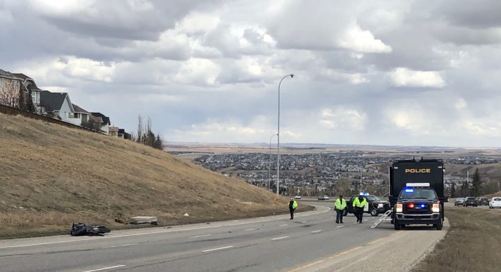 A motorcycle crash happened on Shaganappi Trail just south of Country Hills Blvd. N.W. on Wednesday.