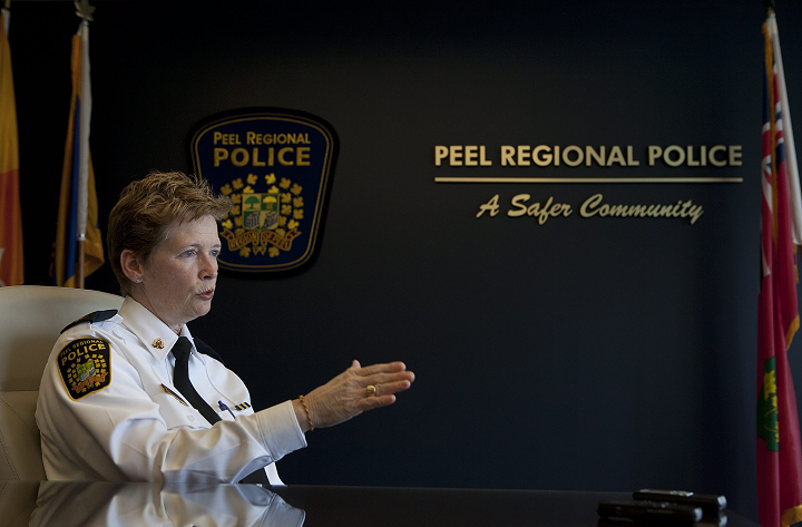 Former Peel Regional Police Chief Jennifer Evans seen here during an interview. She retired in January.