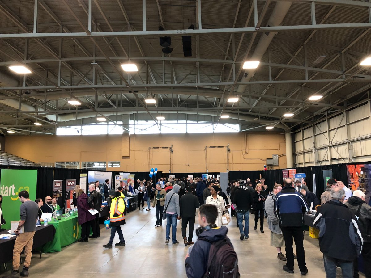 Job seekers gather in the Western Fair Agriplex for the London and Area Works job fair.