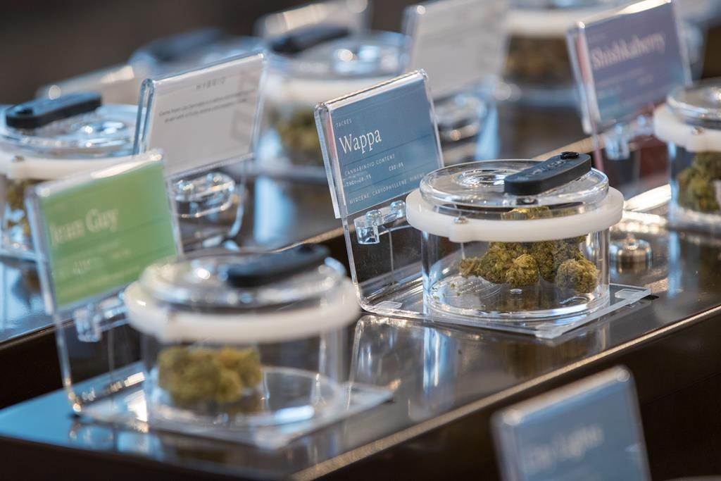 Different kinds of cannabis on display are seen during a media tour of SpritLeaf's store in Kingston, Ont., Sunday, March 31, 2019.