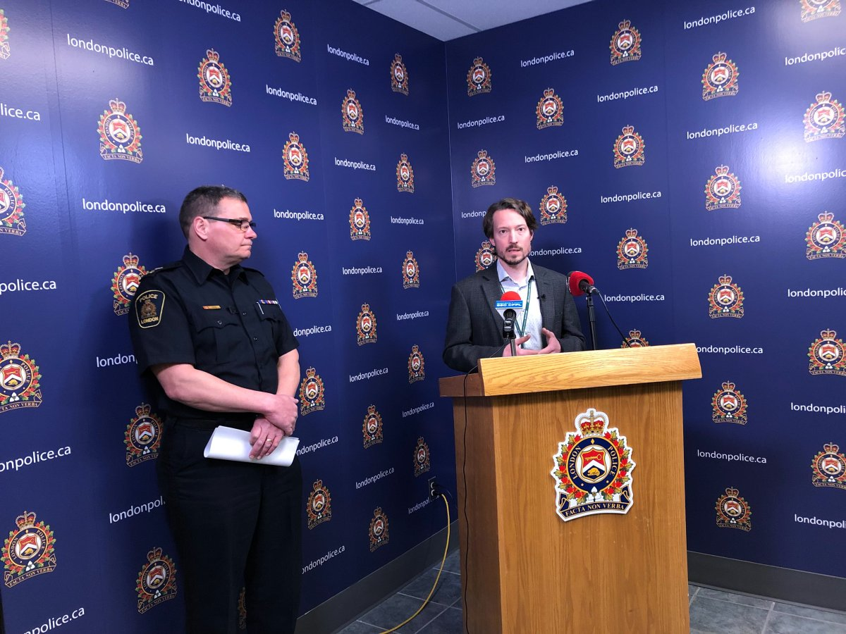London police Chief John Pare (left) and medical officer of health for London and Middlesex County Dr. Chris Mackie (right) address the recent wave of suspected overdose deaths in London.