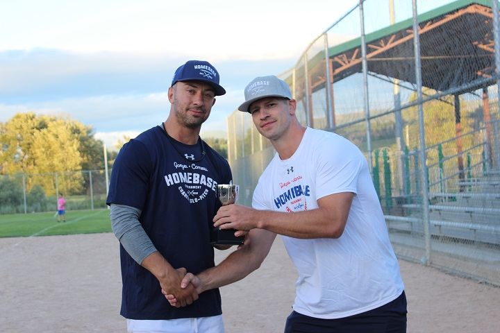 Josh Gorges, left, and Blake Comeau will again be hosting the Gorges-Comeau Homebase Charity Slo-pitch Tournament in Kelowna this summer. The event will run June 28-29.