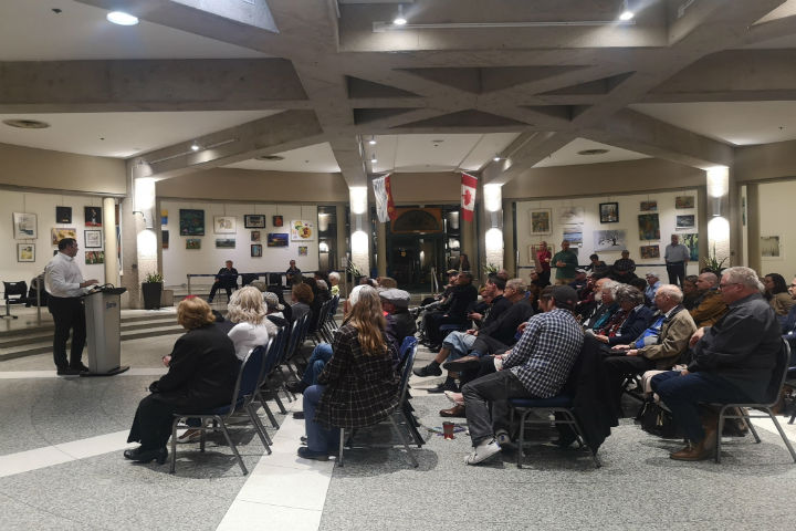Barrie residents gathered at a town hall meeting Wednesday evening to address the opioid crisis that's been affecting the community.