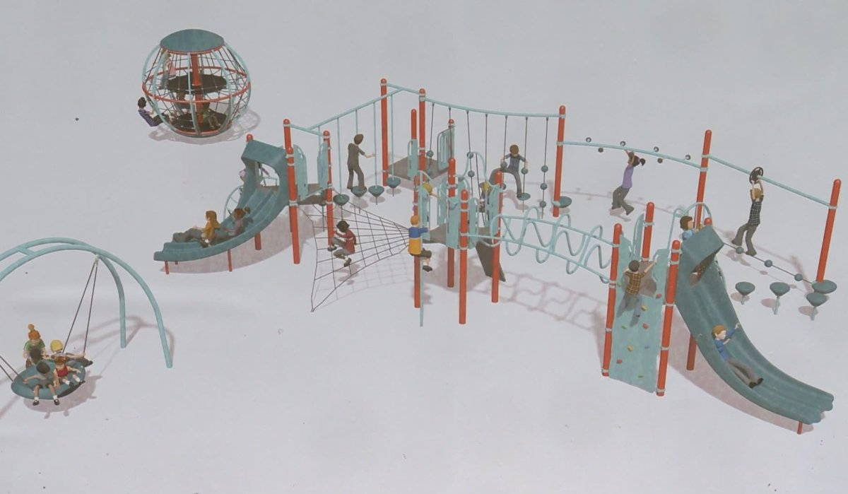 A concept design of the new playground at Grandview Elementary in Vancouver. Volunteer firefighters, Habitat for Humanity and Grandview Elementary were building the playground Saturday, with hopes that it will be ready for kids to climb on by Wednesday.