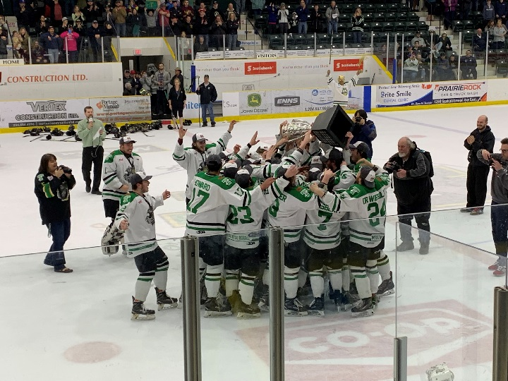 The Portage Terriers celebrate with the Turnbull Cup after winning the MJHL title for the fourth time in the last five years.