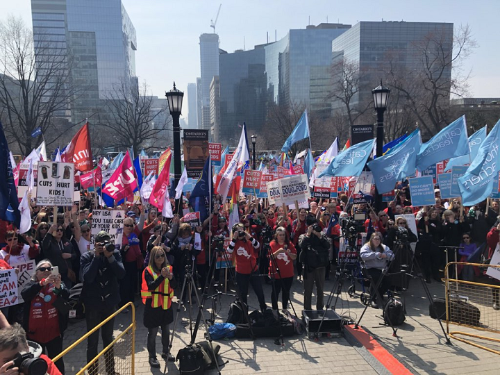 Thousands of union members gathered at Queen's Park on Saturday to protest the Ford government's cuts to education.