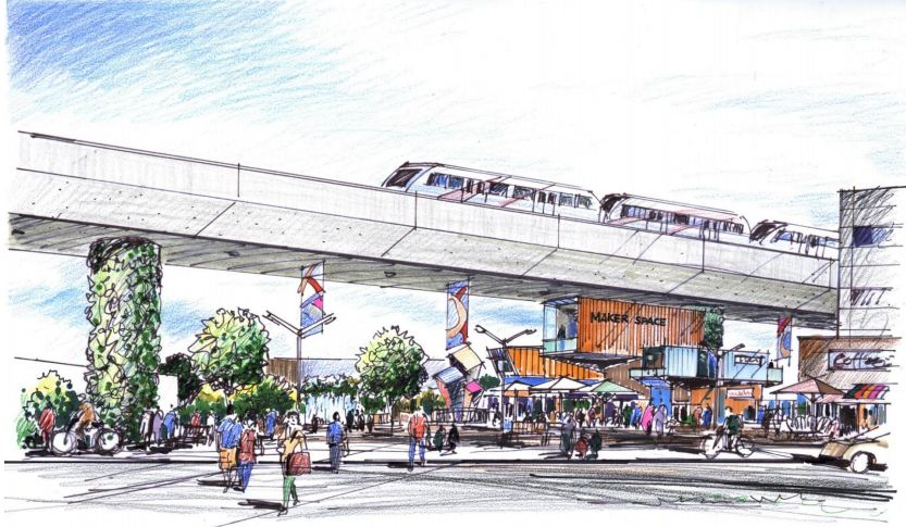 Artist rendering of the Ramsay/Inglewood Green Line station.