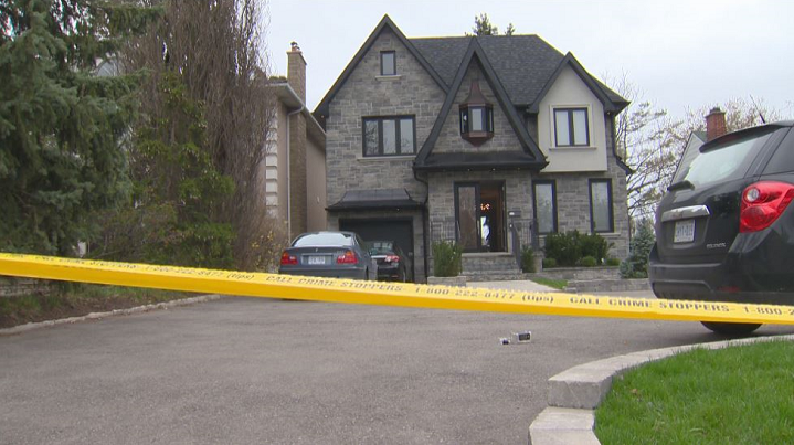 Yellow police tape could be seen around the house Saturday morning.